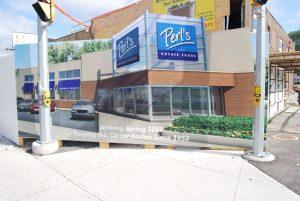 Construction Hoarding for Perl's Kosher Foods.